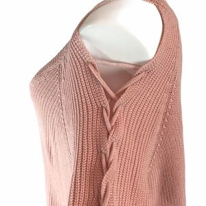 Fashion to Figure Sz 3 Pink Lace-Up Sleeve Sweater